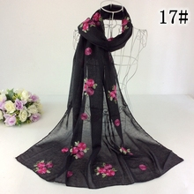 Embroidery Small Floral Shawl Scarves And Stoles Muslim Head Scarf Hijab Cotton Shawl Tassels Women Scarf Bandana(China)