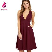 Buy Summer Dress 2017 Sexy High Waist Women Dresses Sleeveless Vintage Dress Casual Deep V Neck Party Vestido De Festa Burgundy for $16.45 in AliExpress store