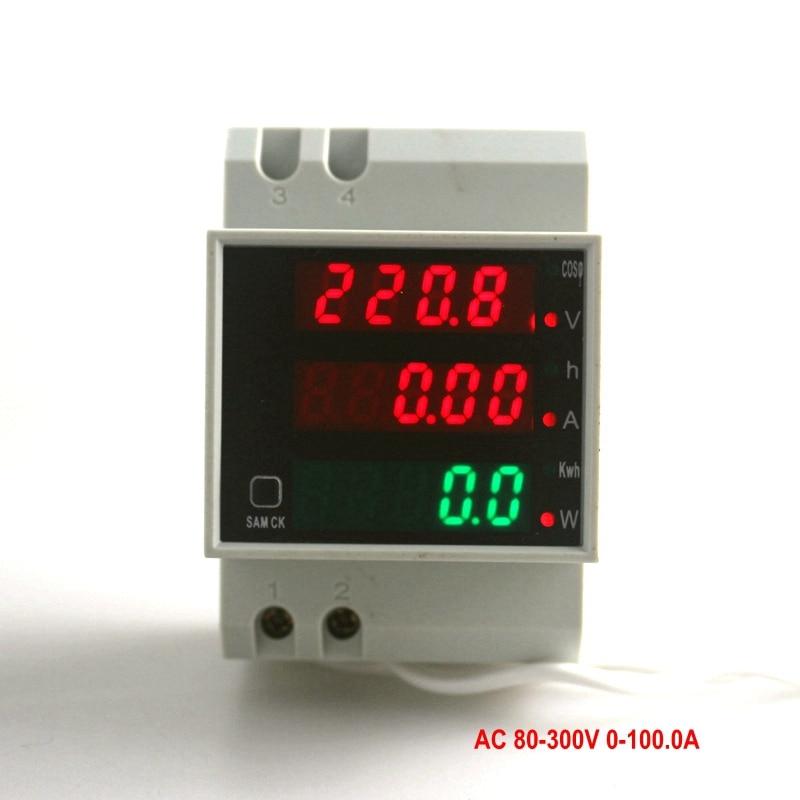 Din Rail  AC 80-300V 0-100.0A Ammeter Voltmeter Volt Amp Meter LED Display Active Power Power Factor Time Energy Voltage Current<br><br>Aliexpress