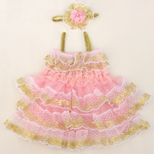 New arrival pink ruffle gold lace petti dress for baby girls wholesale retail baby kids cute summer clothing dress