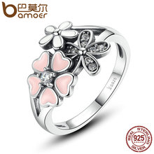 BAMOER 925 Sterling Silver Pink Flower Poetic Daisy Cherry Blossom Finger Ring for Women Engagement Fashion Jewelry SCR004(China)