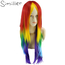 "Similler 26"" Long Cosplay Rainbow Synthetic Wigs Capless Multi Color Heat Resistant Hair for Party(China)"