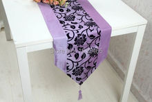 Free shipping,Brand New Damask Flocking Light Purple Table Runner Wedding Party Decoration Home Favors 195*33cm ZQ04