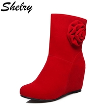 2016 new design boots women round toe nubuck leather ankle boots flower decoration red bottom high heels women's shoes