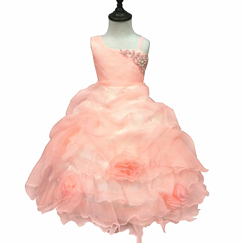 Free Shipping One Shoulder Kids Party Dress 2018 New Arrival Pageant Ball Gowns For 2-10 Years Peach Flower Girl Dresses Factory<br>