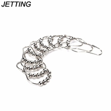 JETTING High Quality 5 Roller Balls Curtain Hooks Polished Satin Nickel Ball Shower Curtain Rings 12Pcs/set