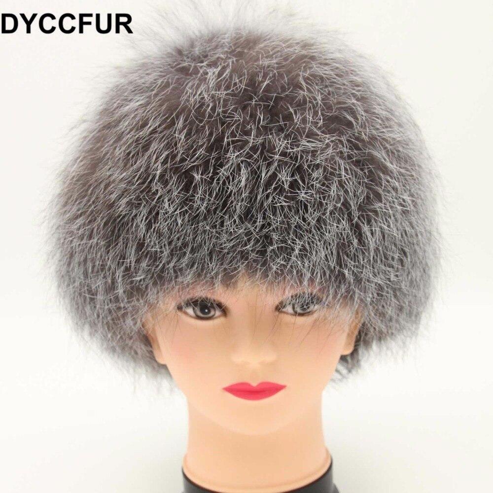 DYCCFUR New Women s Genuine Fox Fur Beanies Russian Winter Fur Hat 100% Real Fox Fur Hats Casual Dome Mongolian caps free sizeÎäåæäà è àêñåññóàðû<br><br>