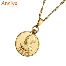 Anniyo Ethiopian Coin Pendant & Necklaces for Women/Girl Gold Color Copy Money Lion Jewelry Gifts #081906(China)