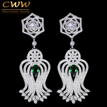CWWZircons Vintage Women Costume Jewelry Micro Pave Cubic Zirconia Long Drop Earring With Green Blue Crystal CZ070(China)