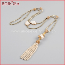 Buy BOROSA New 38'' Beaded Necklace Women, Natural Freshwater Pearl & 3mm Gold Beads Drusy Chain Necklace Druzy Jewelry JAB571 for $24.65 in AliExpress store