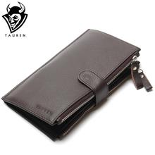 Wholesale China Manufacturer Man Wallet 100% Genuine Leather Coffee Color Large Capacity Men's Vintage Wallets