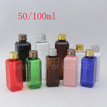50ml  100ml Square Bottle Metal Cap Plastic Empty Sub-lotion Travel Plastic Bottles Screw Aluminum Cap Parfum Shower Gel Bottle