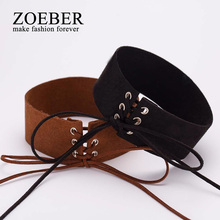 ZOEBER Hot Sell Bijoux Sexy Lace Up Women Punk Gothic bowknot femme Choker Necklace Vintage Velvet Leather Collares Anime(China)