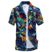 Men 하와이 Shirts Male Casual Camisa Masculina 열 대 Printed Beach Shirts Short Sleeve 2018 New Fashion Asian Size M-5XL(China)