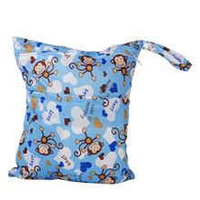 Baby cloth waterproof diaper bag Reusable washable diaper Double zip closure bag (monkey pattern, blue)(China)