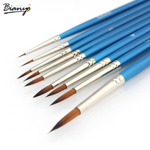 Bianyo water brusher for artists art stationery blue wooden handle paints for drawing 9 pcs a set style brush school supplies(China)