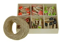 DIY Wall Photo Display 48pcs Wood Paper Picture Clips w/ 50M Hanging Wire Twine,Indoor Outdoor Decor for Hanging Notes Photos(China)