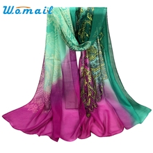 Womail 2016 Casual Floral Scarf Women Gradual Chiffon Silk Wrap Foulard Long Soft Female Scarves and Shawls Gift 1pcs