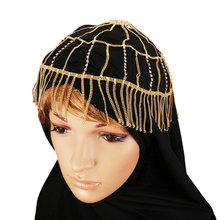 Gold Color Tassel Hairwear Fashion Jewelry For Women Cubic Zirconia Hair Accessories Muslim Islam Head Jewelry F1914(China)