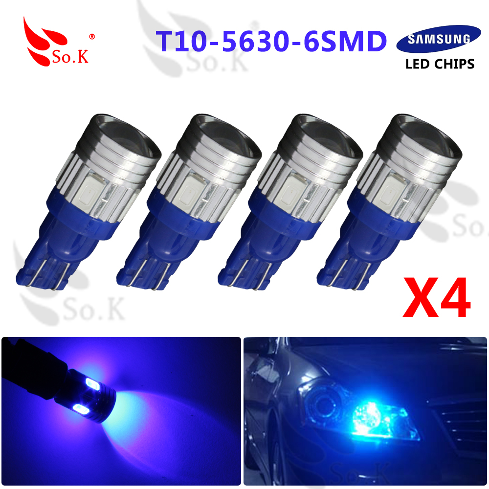 Blue T10 W5W  7W 10 SMD 5630 High power LED SMD Projector LENS License Plate Light Lens Bulbs For Universial Car<br><br>Aliexpress