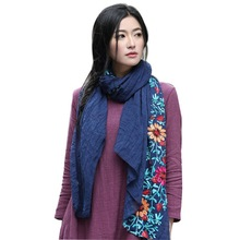 Women Scarf Cotton Blend Flower Embroidery National Wind Shawls Feminino Muffler Long Scarve(China)