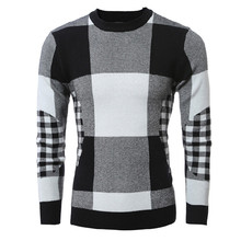 Hot sales 2016 New Autumn Fashion Men Casual Sweater O-Neck Grid Slim Fit Knitting Mens Sweaters And Pullovers Men Pullover(China)