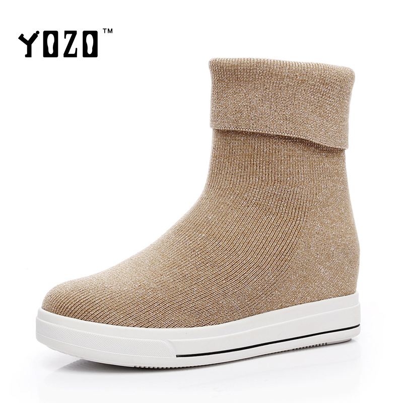 Women Boots Fashion Wedges Platform Stretch Fabric Boots Women Martin Chelsea Knight Boots Women Weave Brand Shoes Zapatos Mujer<br><br>Aliexpress