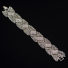 Rhine stone Silver Plated Crystal Bracelets For Women Rhinestone Cuff Bracelets Bangles Wedding Jewelry#B102(China)
