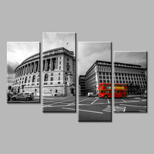 4 Piece Modern wall Painting Black and white city scenery red bus  Art Print on Canvas Wall Pictures For Living room Home decor