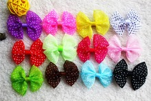 20pcs Mix Colors Lace Dots Design dog topknot bows pet hair Clips Large Bowknot Style dog hair accessories pet grooming products
