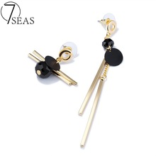 7SEAS New Collection Asymmetric Long Earrings Woman Individual Accessory With Strip+Bead Danger Earring Gold Color Jewelry 7S682