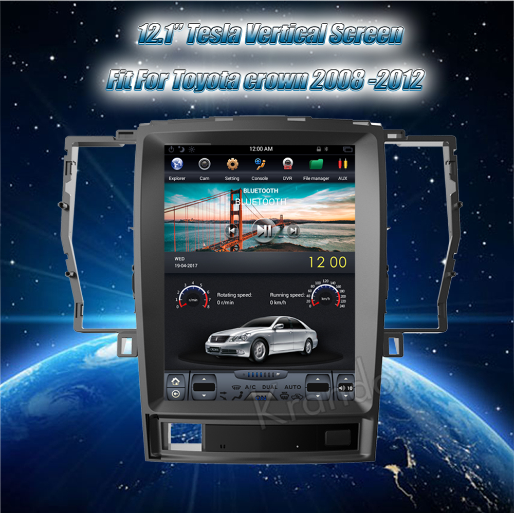 Krando Vertical screen android car radio multimedia for Toyota crown 2008-2012 Big screen navigation with gps system (3)