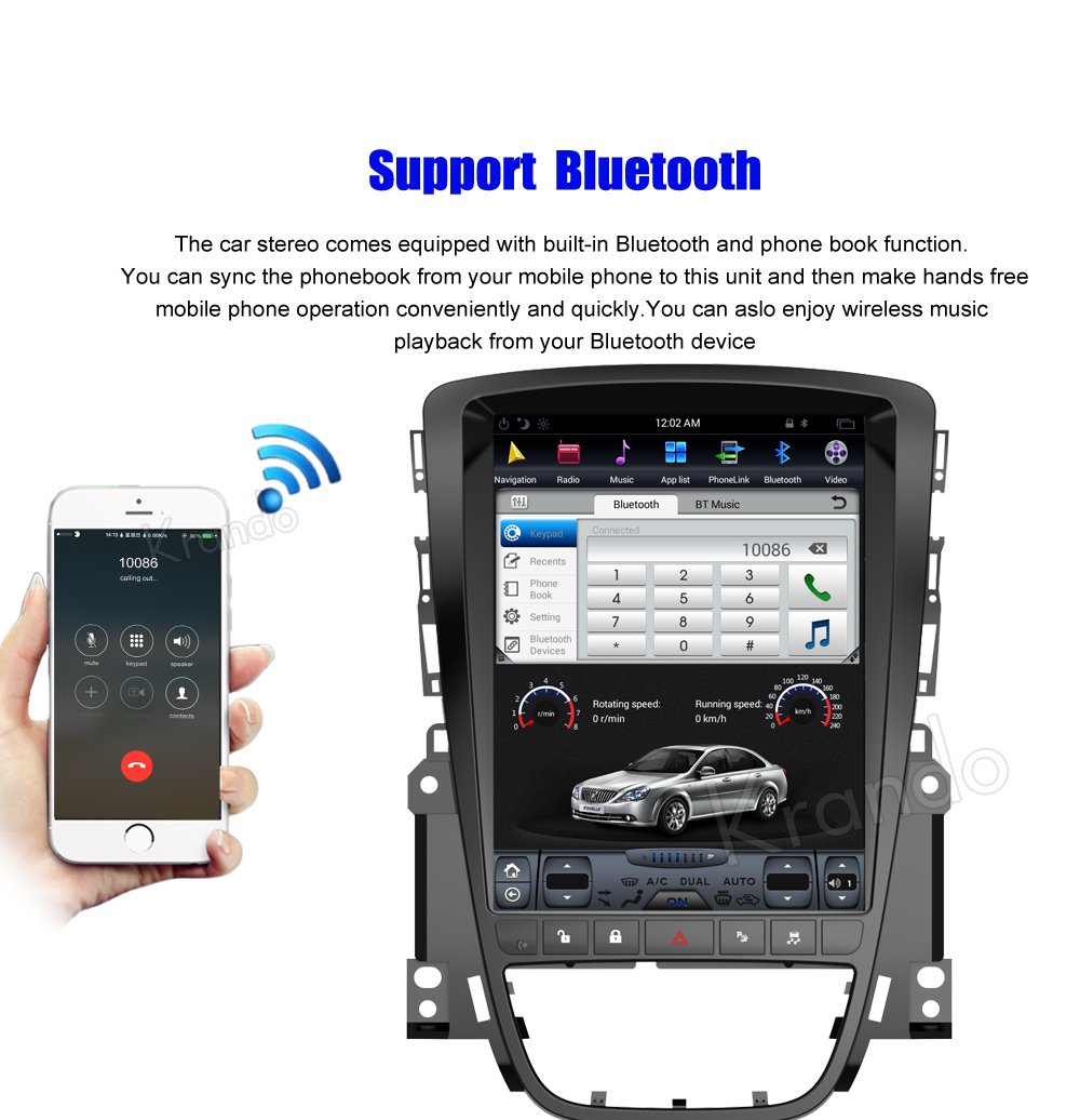 Krando 10.4'' Vertical screen android car radio multimedia for Buick Excelle 2010-2014 big screen navigation with gps system