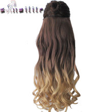 "S-noilite Long Curly 23"" 58CM Heat Resistant Synthetic Hair Clip In On Ombre Hair Extensions Two Tones Hair Piece(China)"