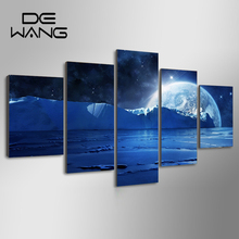 5 Painting Abstract Landscape Painting Canvas  Ice Mountain Blue Sky Earth Picture Wall Cart Posters Home Decor For Bedroom