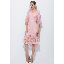 fashion dress for women clothing 2017 pink crochet lace flowers big size dresses flare sleeve mid calf ruffle mermaid dress sale