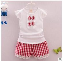 2017 the new children's clothing 1-4 years old female baby children's summer wear grid clothes white T-shirt + shorts grid girls(China)