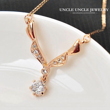 Beautiful Gift!! Rose Gold Color Austrian Rhinestone Angel's Wings Design Lady Pendant Necklace(China)