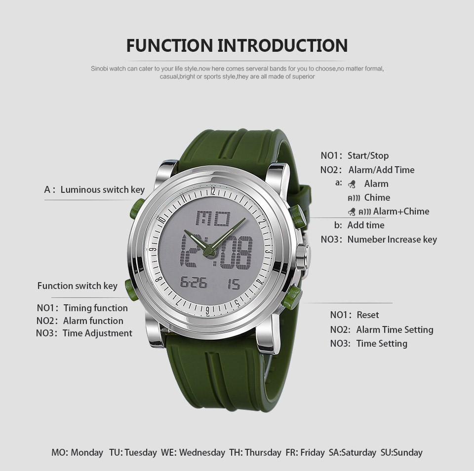 Men digital watch WristWatch Date Waterproof