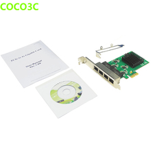 PCIe 4 Port 1Gbps Gigabit Ethernet Network Card PCI express to RJ-45 1000Mbps Lan Adapter Converter with Low Profile Bracket