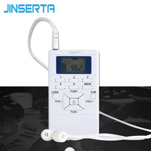 JINSERTA Mini Frequency Modulation FM Radio Digital Signal Processing Portable Receiver With Earphone Radio