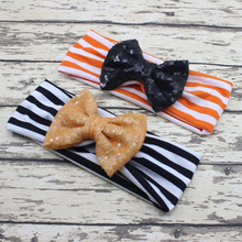 Black and Orange Sequin Bow Headband Women Headband Large Hair Bow Headband for Girl Hair Accessories
