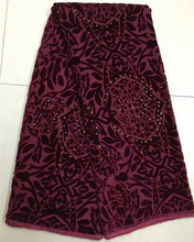 (5yards/pcs)Beaded sexy maroon patchwork quilt velvet fabric simple design embroidery for african dress sewing Feb-16-2017
