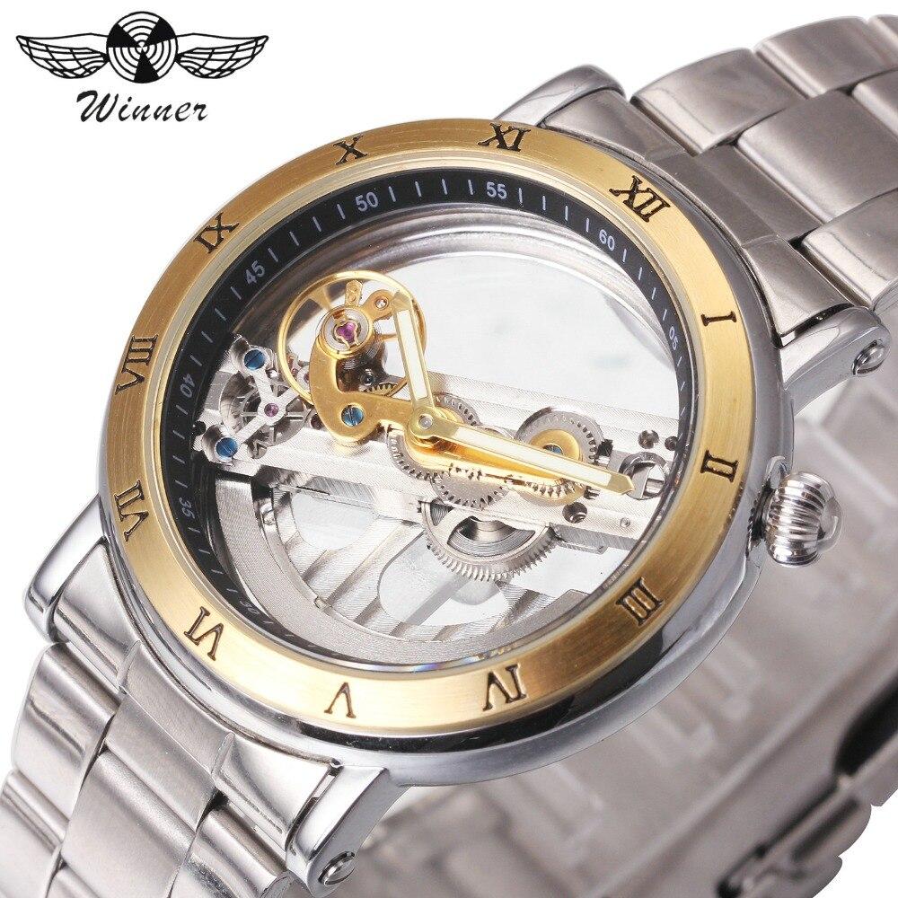 WINNER Golden Bridge Men Mechanical Watch skeleton Luminous Hands Watch Stainless Steel Strap Minimum Design Male Wrist Watches<br>