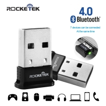 Rocketek Wireless USB Bluetooth 4.0 Dongle Adapter Classic Bluetooth and Stereo Headset Compatible Transmitter for Computer