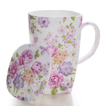 Supper Big Volume 600ml Ceramic Square Mug Korean Style Household Office Bone China Flower Tea Coffee Milk Water Cup with cover