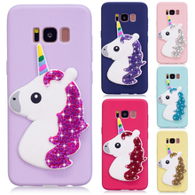 Rhinestone Diamond Unicorn Silicone Case for Samsung Galaxy S6 Edge S7 Edge S8 Plus J5 P J7 Prime ON5 ON7 2016 cases Lovely Soft(China)
