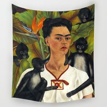 Comwarm Respectable Painter Frida Kahlo Pattern Polyester Tapestry Yoga Rug Wall Hanging Gobelin Mural for Modern Rome Decor Art