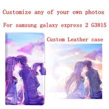 DIY Phone bag Personalized custom photo Picture flip PU leather case cover for samsung galaxy express 2 G3815
