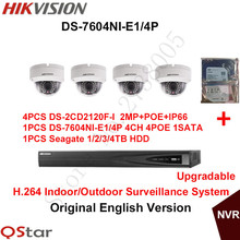Hikvision Original English CCTV Security Camera System 4xDS-2CD2120F-I 2MP IP Dome Camera POE+6MP Recording NVR DS-7604NI-E1/4P(China)
